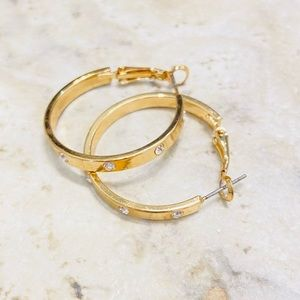 SOLD ✨NEW✨Gold Crystal Hoops!